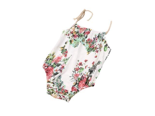 Summer Kids Infant Baby Girls Romper Floral Sleeveless Sunsuit Outfit Clothes