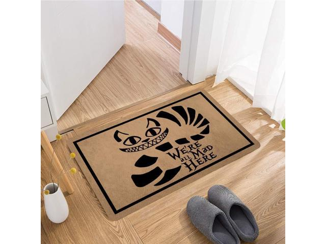 Non-Woven Fabric Top with a Anti-Slip Rubber Back MatsFor The Entrance Way Indoor Doormats 23.6 X 15.7 in ZQH Welcome Door Mats Were All Mad Here Doormat