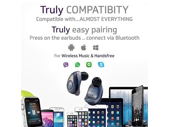 Bluephonic True Wireless Earbuds - Latest Bluetooth 5 0 Mini in Ear  Headphones 3D Stereo Sound, 18H Play Time, SweatProof Sports Earphones  Headset,