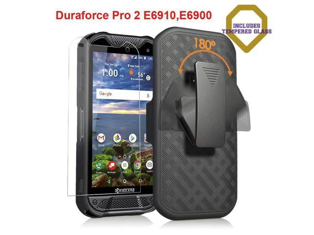 online store 73cf8 563ff Kyocera Duraforce Pro 2 Case with [Tempered Glass Screen Protector],  Microseven Kyocera DuraForce PRO 2 (Verizon) E6910 E6900 Slim Belt Clip  Holster ...