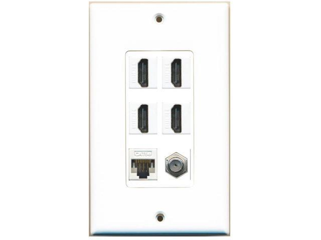 riteav - 4 x hdmi and 1 x ethernet cat5e and 1 x coax cable tv f type port wall plate