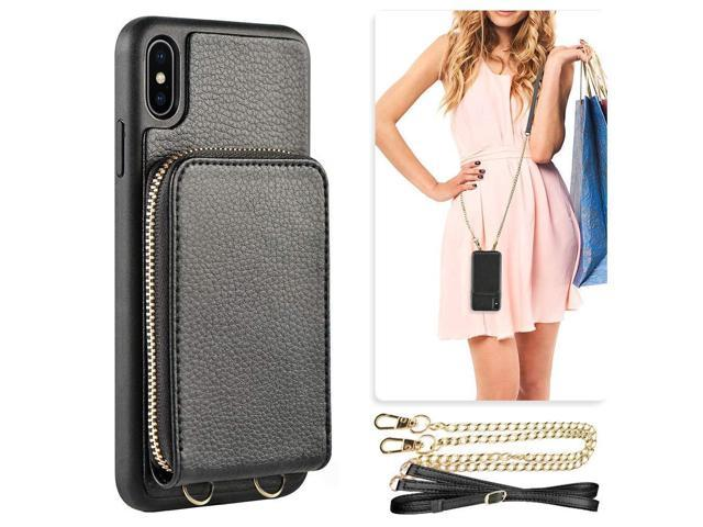 detailed look 5721b 8c3bf iPhone Xs Wallet Case, iPhone X Case with Crad Holder Crossbody Chain Wrist  Strap Lanyard, JLFCH Leather Card Slot Zipper Closure Back Cover Case for  ...