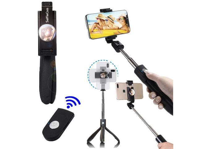 hot sale online e8c66 76933 SelfieCom Bluetooth Selfie Stick Tripod with Mirror Extendable Monopod with  Mirror and Wireless Remote and Tripod Stand for iPhone X/iPhone 8/8 ...