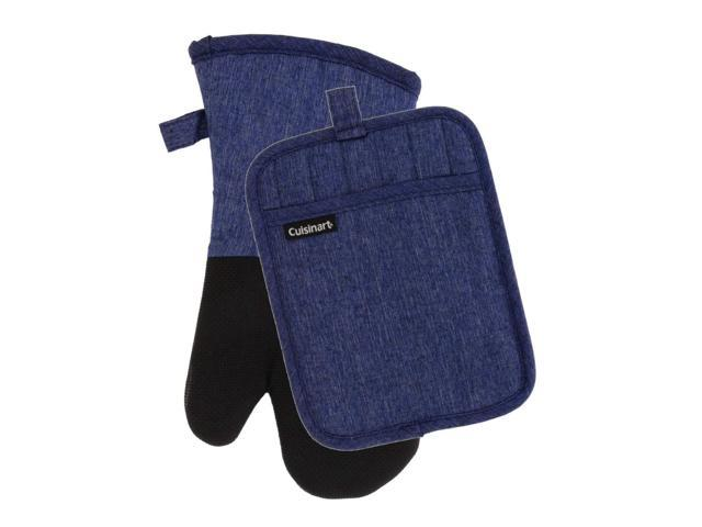 Cuisinart Kitchen Oven Mitt/Glove & Rectangle Potholder with Pocket Set-  Neoprene for Easy Gripping, Heat Resistant up to 500 Degrees F, Chambray ...