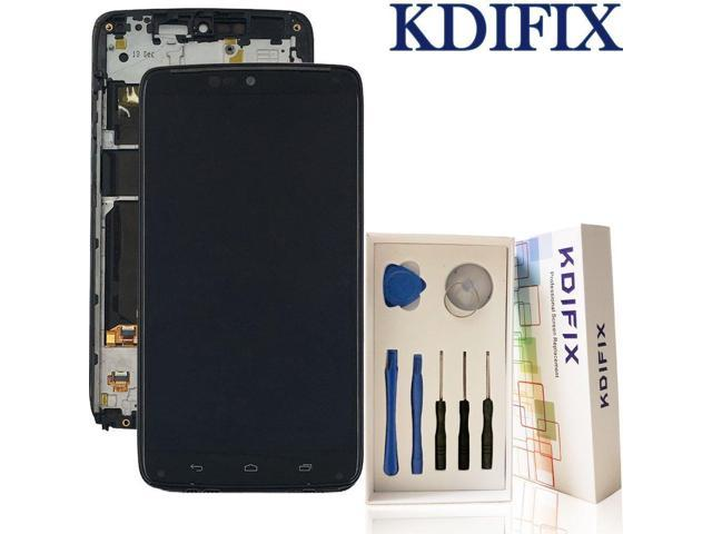KDIFIX for Motorola Droid Turbo XT1254 Moto Maxx XT1225 LCD Touch Screen  Assembly + Frame with Full Professional Repair Tools kit (Black+Frame) -