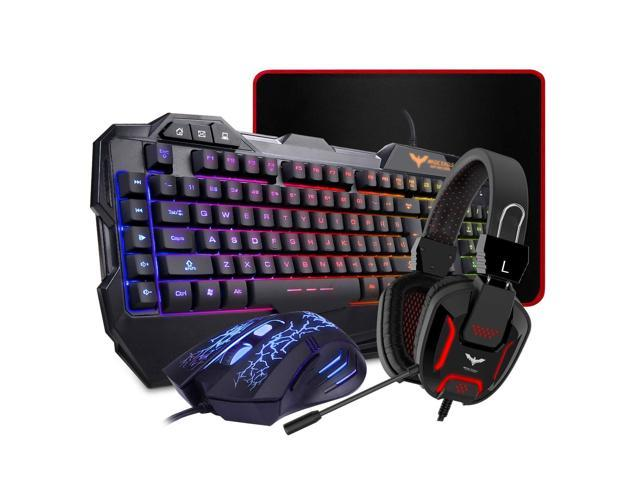 Wired Gaming Keyboard and Mouse Set Kit LED For PC PS4 Macbook Laptop TV Black