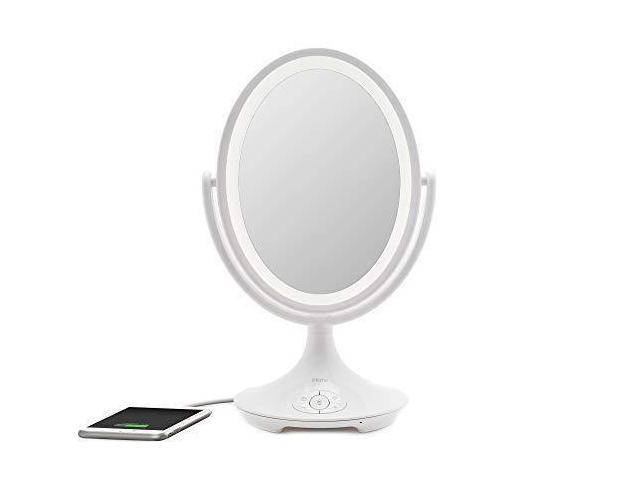 USB Charging Siri/& Google Support White, 6 iHome Beauty Vanity Mirror with Bluetooth Audio LED Lighting