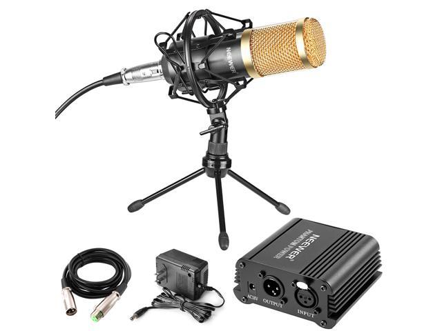 Neewer Professional Audio Condenser Microphone with Mic Shock Mount, 48V  Phantom Power Supply, XLR 3 Pin Microphone Cable, Iron Mini Desktop Tripod
