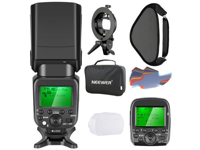 Neewer 2 4G Wireless 1/8000s HSS TTL Master/Slave Flash Speedlite Kit for  Sony Camera with New Mi Shoe,Includes:NW630 Flash,Flash Trigger,S-type