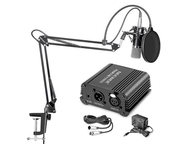 Neewer NW-700 Professional Condenser Microphone & NW-35 Suspension Boom  Scissor Arm Stand with Built-in XLR Cable and Mounting Clamp & NW-3 Pop  Filter