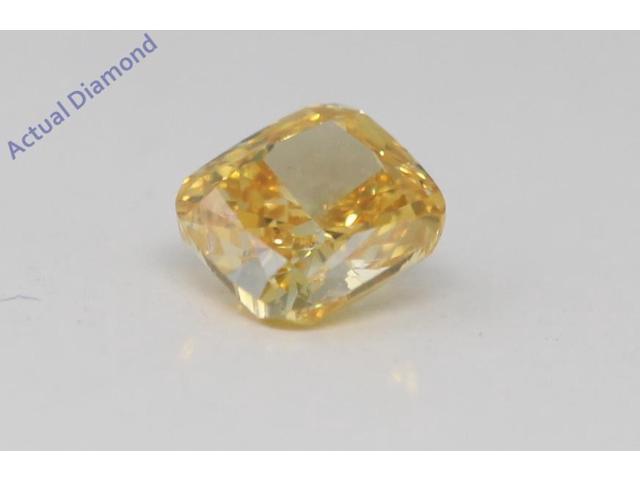 0a283d592e Cushion Cut Loose Diamond (0.34 Ct, Natural Fancy Vivid Yellow Orange  Color, SI2