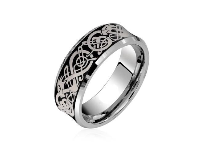 8MM Titanium Blue IP Concave Mens Wedding Ring Size 13
