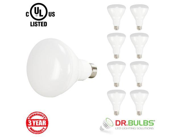 Dr BulbsTM Pack Of 8 9W 65W Equivalent BR30 Dimmable LED Flood Light Bulb Medium Base E26 120V AC UL CUL Listed CRI 80 110 Degree Beam Angle