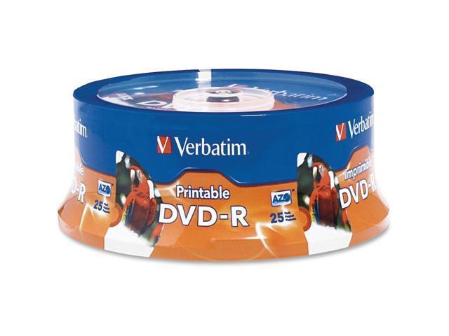 photograph regarding Verbatim Dvd R Printable called Verbatim DVD-R 4.7GB 16X White Inkjet Printable, Hub Printable - 25pk Spindle - TAA Compliant -