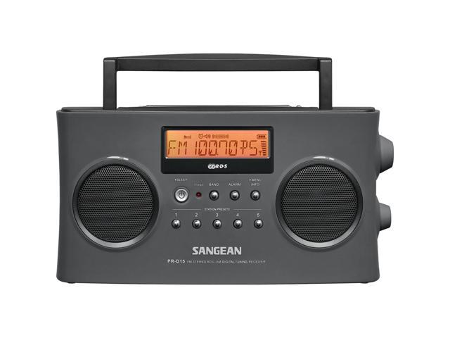 New Sangean PR-D15 FM-Stereo//AM Rechargeable Portable Radio with Handle Gray