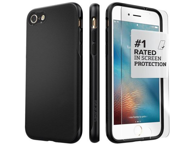 detailed look 56632 6d87a SaharaCase iPhone 8 & 7 Black Case, Trend Protective Kit Bundle with  ZeroDamage Tempered Glass Screen Protector - Newegg.com