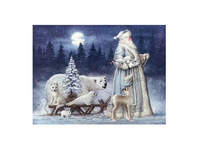 32 22cm Christmas Santa Claus Bear Snow Scene 5d Diamond Painting