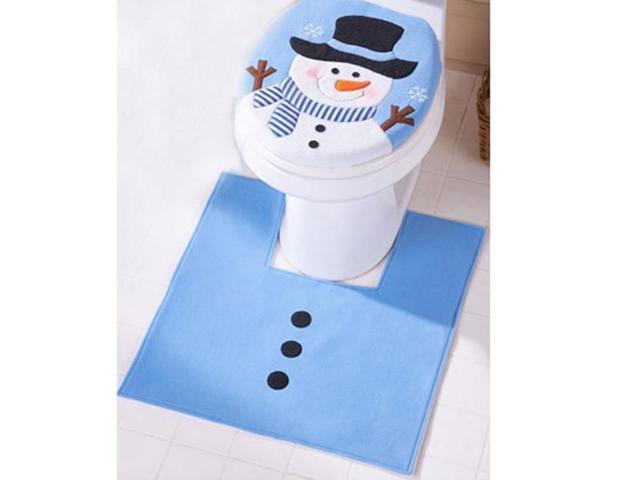 Incredible New Christmas Decoration For Home Bathroom Christmas Decor Blue Santa Toilet Seat Cover Foot Pad Paper Rug Bathroom Set Cjindustries Chair Design For Home Cjindustriesco