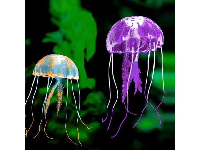 2pcs 5cm Glowing Effect Artificial Jellyfish Fish Tank Aquarium Decoration Silicon Jelly Fish Tanks Small Ornament E2sho