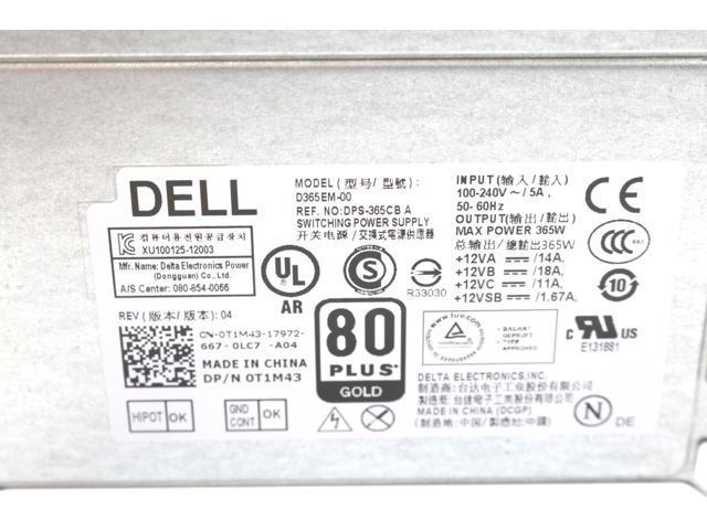 Dell Optiplex XE2 MT T1700 T20 365W Power Supply D365EM-00 T1M43 0T1M43  7VK45 - Newegg com