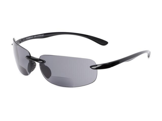 a32cba486289 Readers.com | The Breaker Bifocal Reading Sunglasses +2.00 Black with Smoke Lenses  Sport & Wrap-Around Men's & Women's Rimless Reading Sunglasses