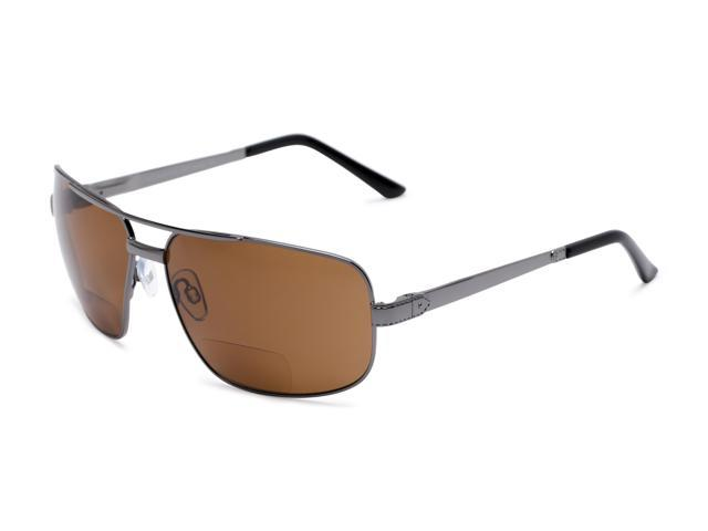 551a9bfc54 Readers.com The Sherlock Polarized Bifocal Sun Reader +2.50 Silver with Amber  Lenses Unisex