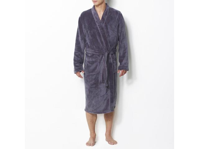 La Redoute Collections Mens Fleece Bathrobe With Kimono Collar Grey Size 3Xl 86175d5a0