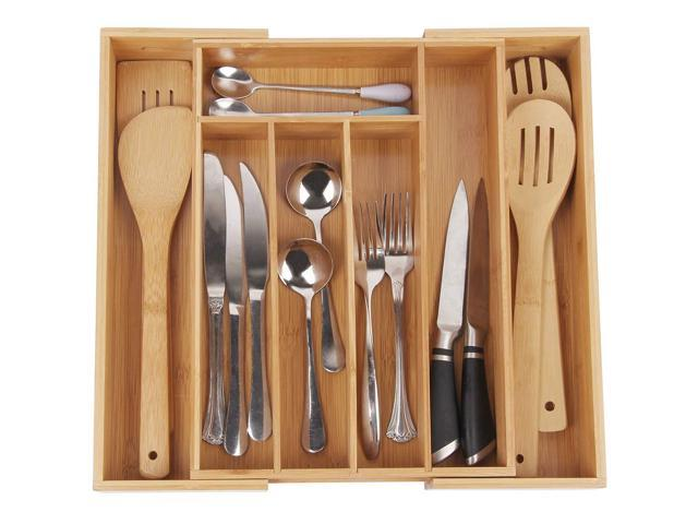 Bamboo Kitchen Drawer Organizer - Expandable Silverware Organizer Utensil  Holder and Cutlery Tray with Grooved Drawer Dividers for Flatware and ...