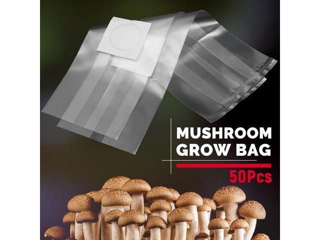 10-50pcs Type Transparent PVC Mushroom Spawn Grow Bag High Temp Pre Sealable Kit