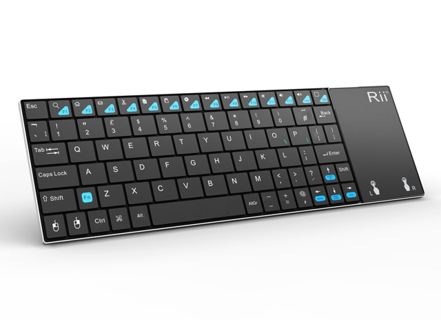 063cfe284ef Rii Ultra Slim K12 2.4GHz Mini Wireless Keyboard with Large Size Touchpad  Mouse Stainless Steel