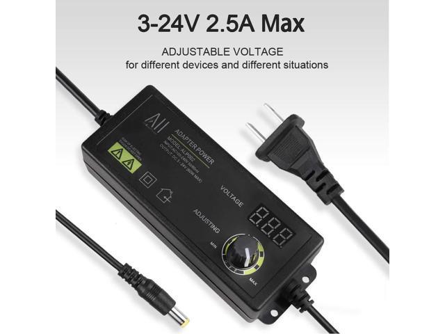 Adjustable Power Supply DC 3V To 24V 60W 5.5x2.5mm Jack US Plug Wire LED Adapter