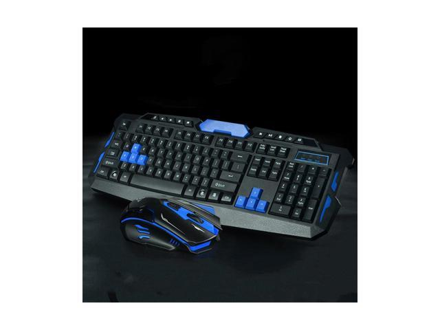 2.4GHz Black /& Blue Anti-Ghosting Wireless Gaming Keyboard and Mouse Combo