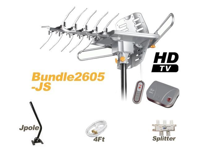 LAVA Bundle HD-2605 Outdoor Antenna with 4-way Splitter + J-Pole