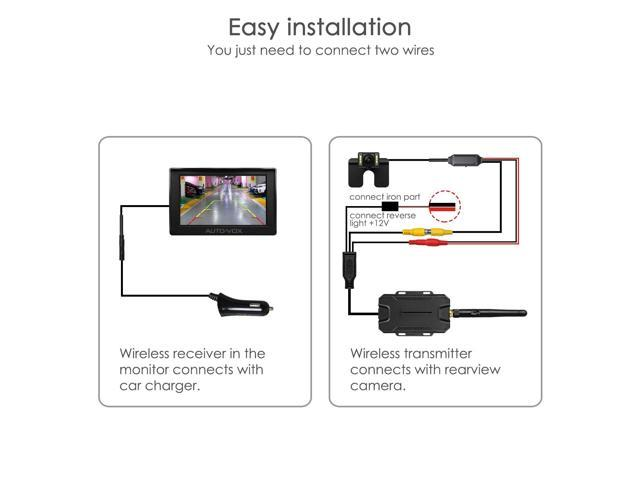 AUTO-VOX M1W Wireless Backup Camera Kit 4.3'' LCD Mirror Monitor with on