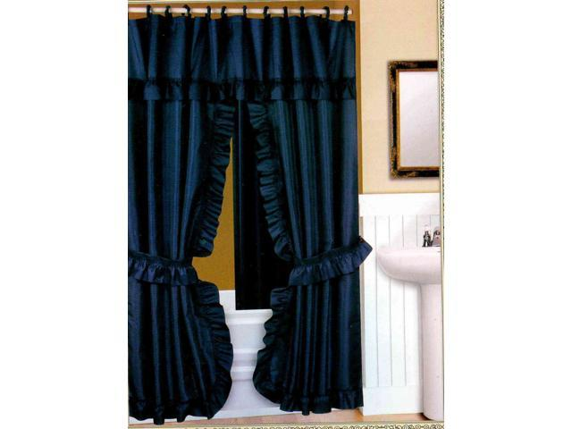 DOUBLE SWAG FABRIC SHOWER CURTAIN, LINER, RINGS, DOBBY DOT DESIGN, NAVY BLUE
