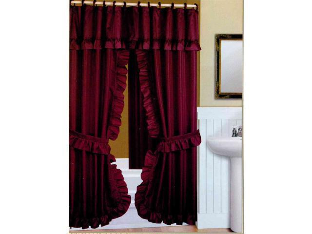 DOUBLE SWAG FABRIC SHOWER CURTAIN LINER RINGS DOBBY DOT DESIGN BURGUNDY