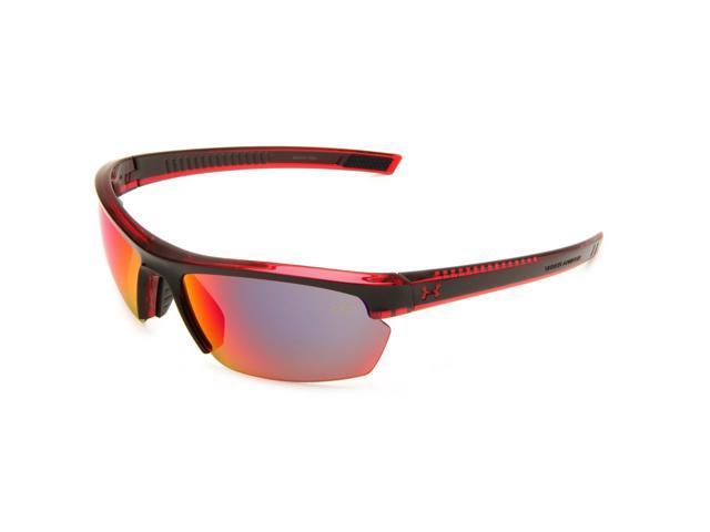 392d9c1d9753 Under Armour UA Stride XL Sunglasses Black Red Frame Gray Infrared Mirror  Lenses