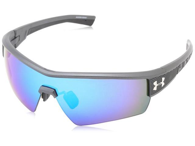 be03cef5ab Under Armour UA Fire Satin Carbon Grey Frame Blue Mirror Lens Men s Sport  Shield Sunglasses