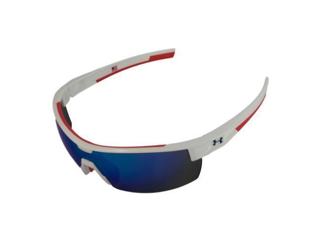 833dc0f365da Under Armour UA Reign Shiny White Frame Red Rubber Blue Mirror Lens USA  Edition Sunglasses