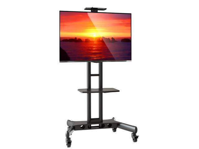 Mount Factory Rolling Tv Cart Mobile Tv Stand For 40 65 Inch Flat