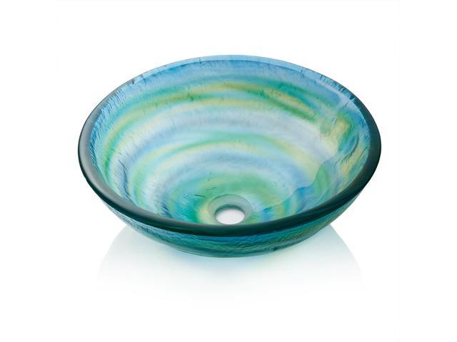 Miligore Modern Gl Vessel Sink Above Counter Bathroom Vanity Basin Bowl Round Blue Green