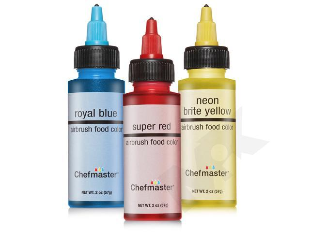 Chefmaster Cake Decorating Food Coloring Airbrush Paint Set - 3 Primary  Colors 2oz - Newegg.com