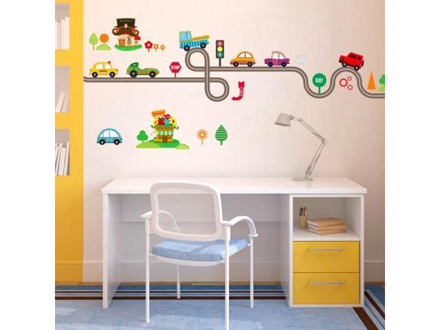 2017 Creative Cute Cartoon Cars Baby Children Bedroom Room Decor Wall  Stickers Removable Kids Nursery Decal Sticker