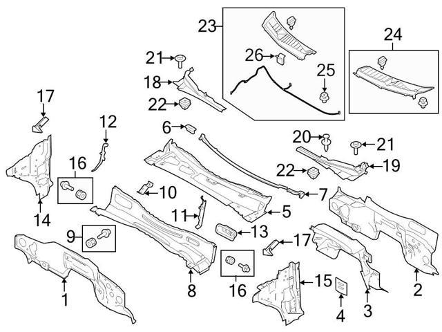 Ford Oem Cowl Cover Clip W708771s300