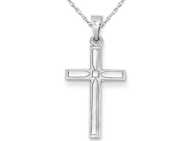 cross pendant necklace in 14k white gold with chain