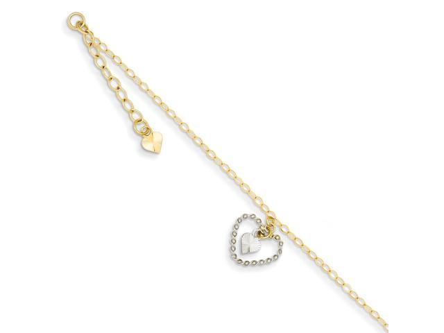 9 in 14K Two-tone Diamond Cut Puff Rice Beads w// 1in Ext Anklet 14 kt White and Yellow Gold Length