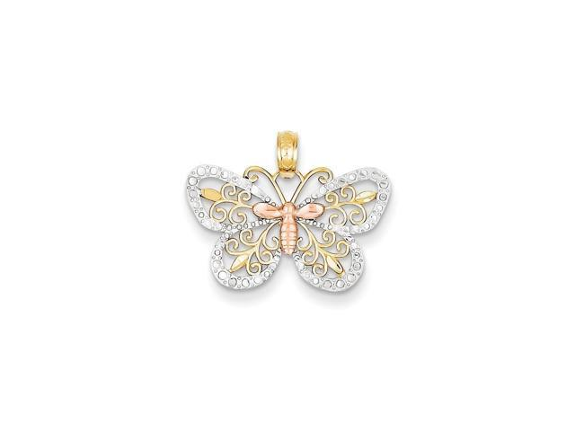 14k Rose Gold /& Rhodium Diamond-cut Butterfly Pendant