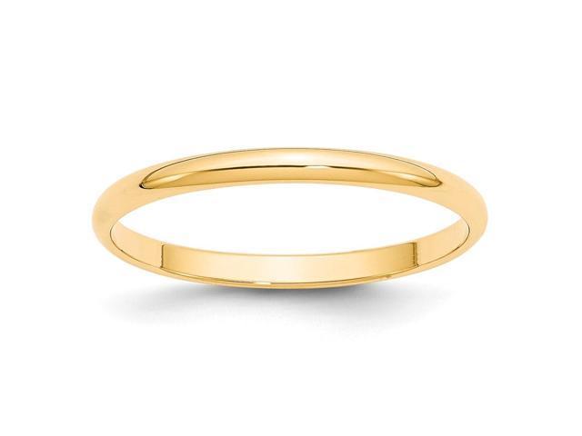 Size 11 14K Yellow Gold Light Half Round Band
