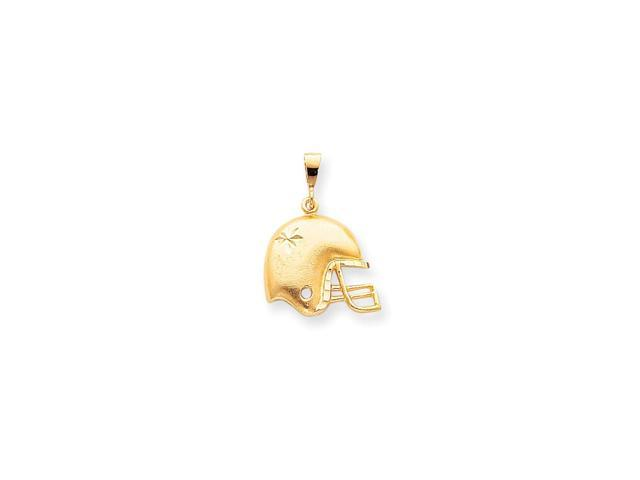 Details about  /10k Yellow Gold Open-Back Football Helmet Charm Pendant with Satin Finish