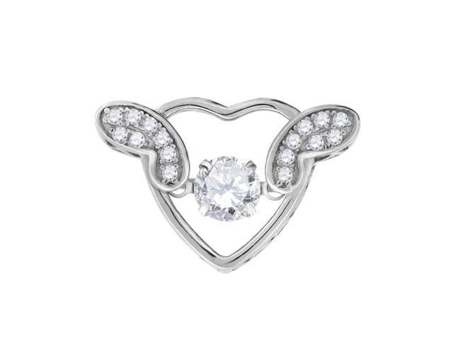 Saris and Things 925 Sterling Silver Womens Cubic Zirconia CZ 2 Two Blue Stone Heart Charm Pendant